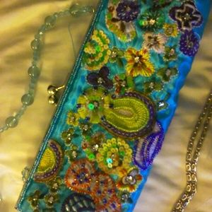 Satin Beaded Bohemian Embroidered Clutch